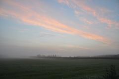 mistbanken met een mooi verlichte wolkensluier op dinsdagochtend kort voor zonsopkomst #buienradar