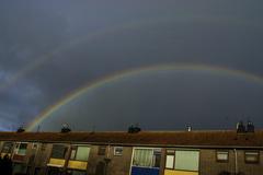 Deze dubbele regenboog is genomen om 9:45 op 10 feb in Delft #buienradar