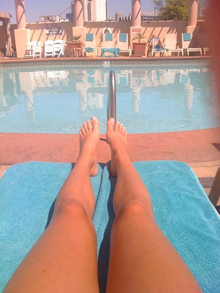 Laying out by the pool