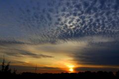 Fraaie  lucht   bij opkomende  zon. Als of  er  een  lamp  achter de  wolken  brand worden  ze  verlicht.29-9-8 uur. #buienradar