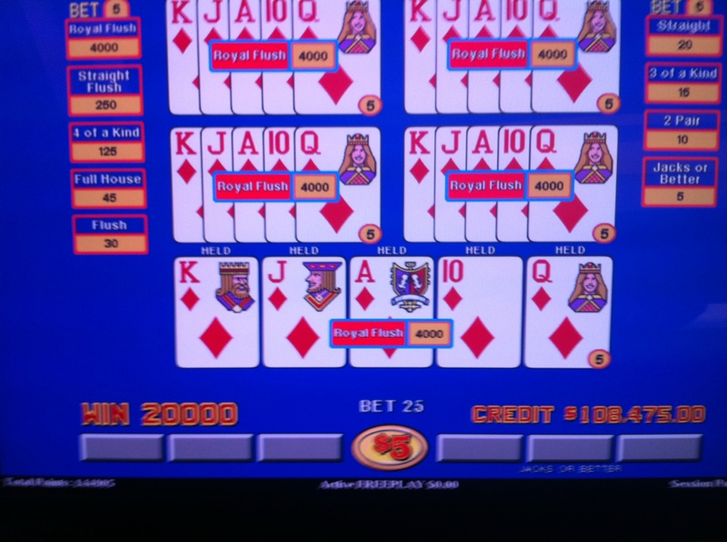 Odds of hitting a royal flush on video poker online slots play for real money