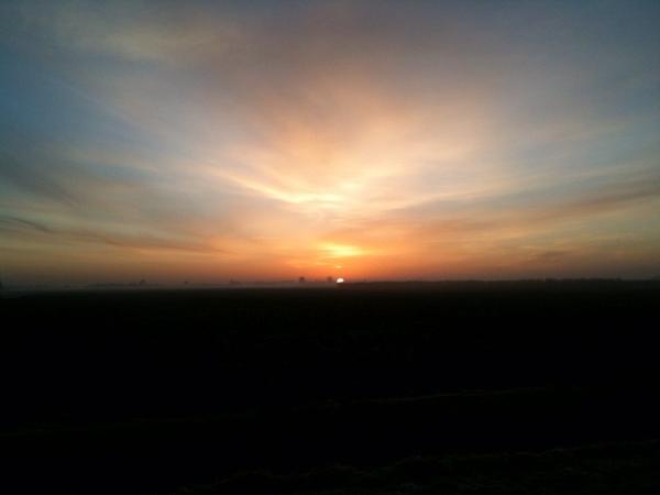 De zonsopgang tijdens het lopen.
